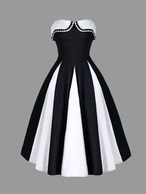 Two Tone Strapless 50s Swing Dress - WHITE/BLACK 2XL