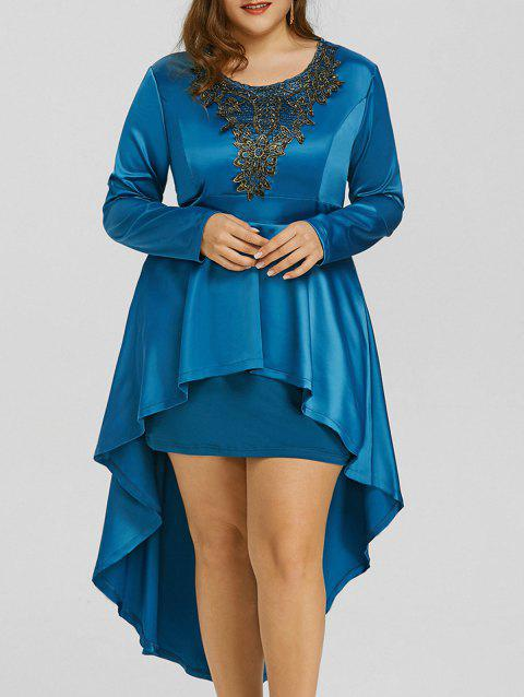 52 Off 2018 Plus Size Lace High Low Formal Dress In Lake Blue Xl