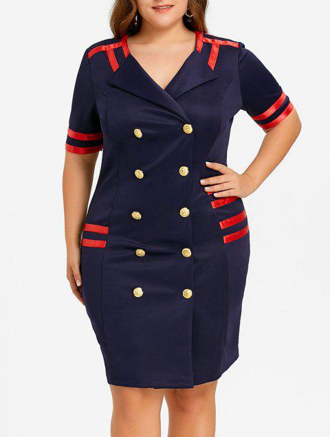 Plus Size Double Breasted Striped Bodycon Dress - CADETBLUE 5XL