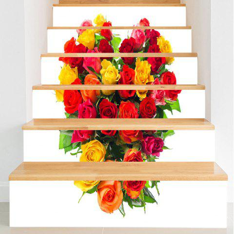 3D Valentine's Day Roses Heart Print DIY Stair Stickers - COLORFUL FLOWER 100*18CM*6PCS