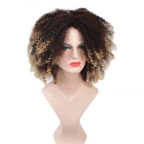 Medium Colormix Fluffy Afro Kinky Curly Synthetic Wig - BLACK/GOLDEN
