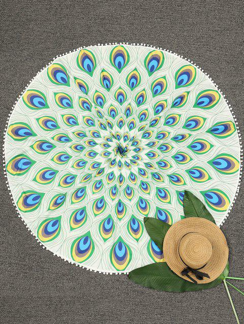 Circle Peacock Feather Print Beach Throw - FLORAL ONE SIZE