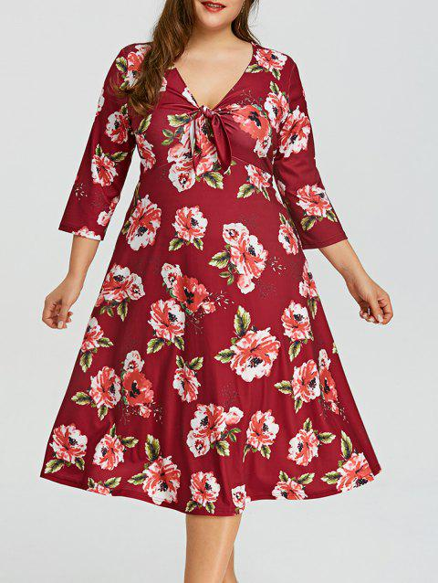 Plus Size Floral Empire Waist Hawaiian Dress - WINE RED 3XL
