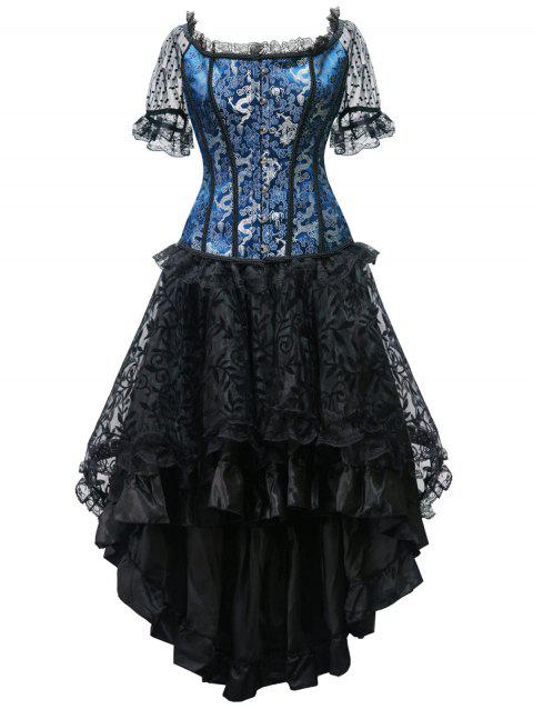 High Low Steel Boned Party Corset Dress - BLUE 2XL