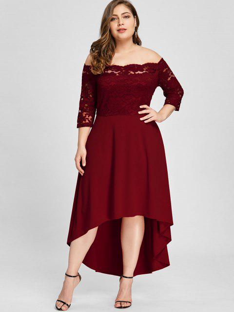 17% OFF] 2019 Plus Size Lace Off Shoulder Flare Dress In WINE RED ...