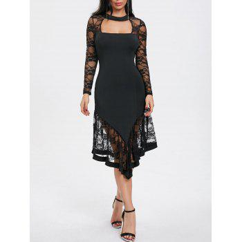 Lace Panel Cut Out Asymmetrical Club Dress