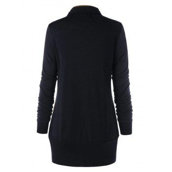 Plus Size Buttons Heap Collar Tunic Sweatshirt - BLACK 5XL