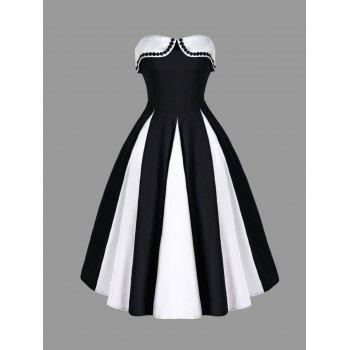 Two Tone Strapless 50s Swing Dress - WHITE AND BLACK WHITE/BLACK