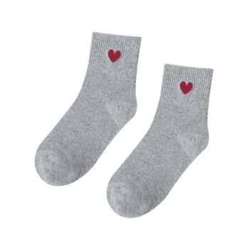 Small Heart Knitted Ankle Socks - GRAY