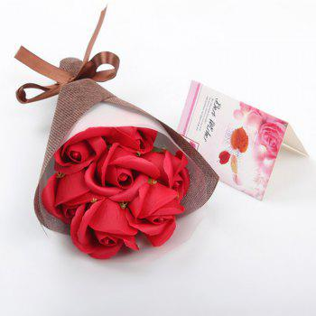 7Pcs Scented Soap Roses Bouquet Gift Box Valentine's Present - RED