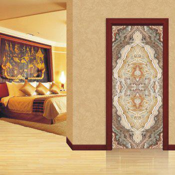 Marbling Door Art Stickers - multicolor multicolor