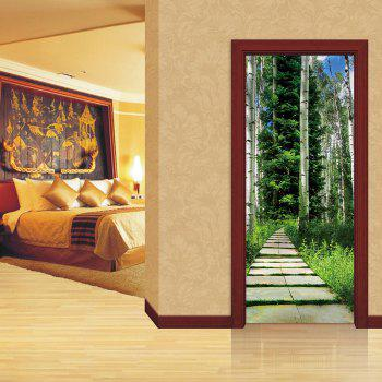 Tree Shaded Trail Pattern Door Art Stickers - multicolor 38.5*200CM*2PCS