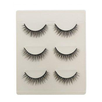 3Pcs Natural Effect Volumizing Makeup Faux Eyelashes - BLACK