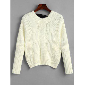 Cable Knit Chunky Bowknot Sweater - OFF WHITE ONE SIZE