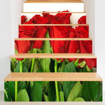 Valentine's Day Rose Flowers Decorative Stair Stickers - COLORMIX COLORMIX