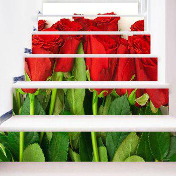 Valentine's Day Rose Flowers Decorative Stair Stickers - COLORMIX 100*18CM*6PCS