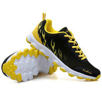 Color Block Breathable Mesh Sneakers - BLACK / YELLOW 43