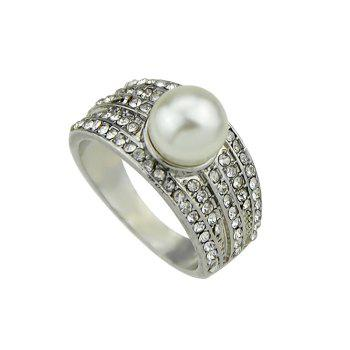 Artificial Pearl Diamond Ring - SILVER ONE-SIZE