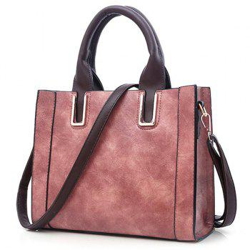 Stitching Faux Leather Metal Handbag with Strap - PINK