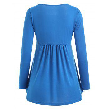 Long Sleeve Ruched Square Collar Blouse - BLUE XL