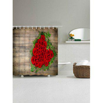 Waterproof Roses Wood Grain Printed Polyester Shower Curtain - WOOD COLOR W71 INCH * L71 INCH