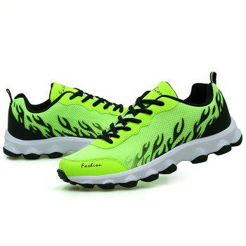 Color Block Breathable Mesh Sneakers - NEON GREEN 38