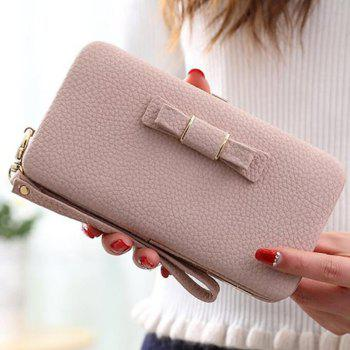 PU Leather Bowknot Clutch Wallet - PINK