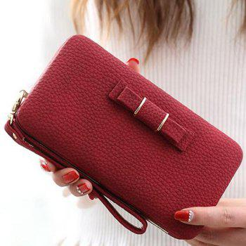 PU Leather Bowknot Clutch Wallet - RED