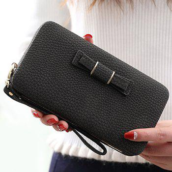 PU Leather Bowknot Clutch Wallet - BLACK