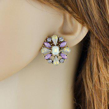 Floral Faux Crystal Inlay Stud Earrings - COLORMIX