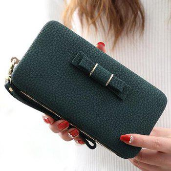 PU Leather Bowknot Clutch Wallet - BLACKISH GREEN