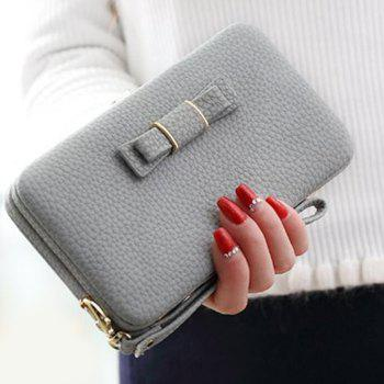 PU Leather Bowknot Clutch Wallet - GRAY