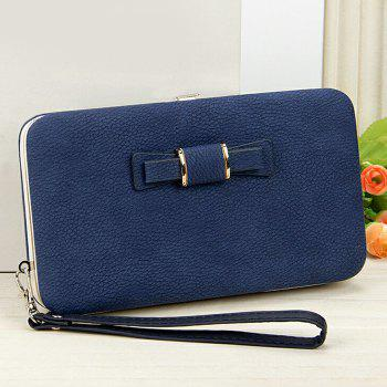 PU Leather Bowknot Clutch Wallet - ROYAL