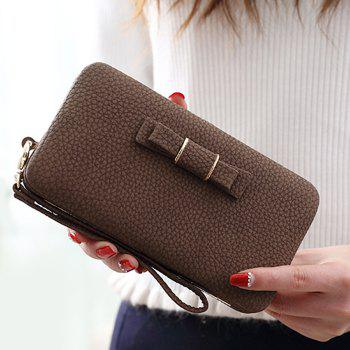PU Leather Bowknot Clutch Wallet - CAPPUCCINO