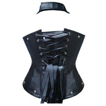 PU Halter Steel Boned Corset - BLACK XL