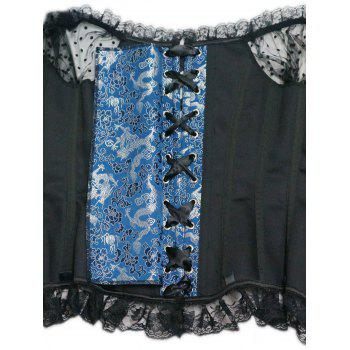 Lace Trim Steel Boned Corset Top - BLUE L