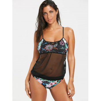 Floral Dotted Printed Openwork Mesh Overlay Tankini - COLORMIX S