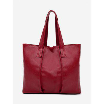 Nude Faux Leather Shoulder Bag - RED RED