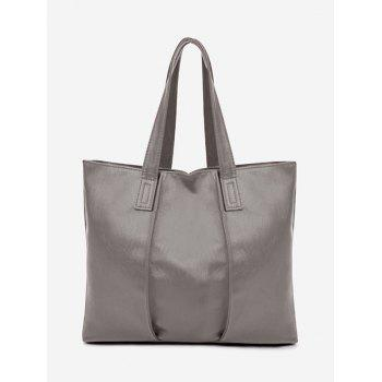 Nude Faux Leather Shoulder Bag - GRAY GRAY