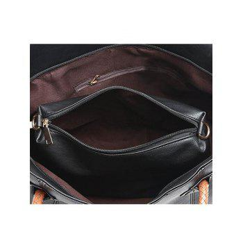 2 Pieces Braid Handles Shoulder Bag Set -  BLACK