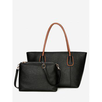 2 Pieces Braid Handles Shoulder Bag Set - BLACK BLACK