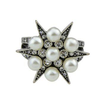 Faux Pearl and Diamond Inlay Ornament Star Ring - SILVER SILVER