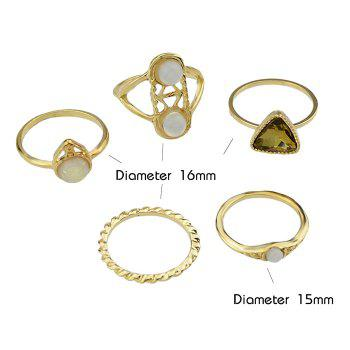 5 Pcs Faux Crystal Inset Rings - GOLDEN ONE-SIZE