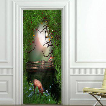 Fantasy Forest Patterned Decorative Door Stickers - GREEN 38.5*200CM*2PCS