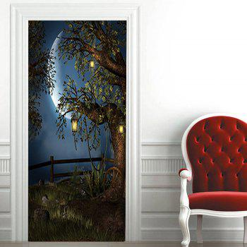 Moon Night Tree Pattern Door Art Stickers - COLORMIX COLORMIX