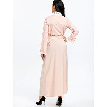 Maxi Arabic Duster Coat with Tie Belt - LIGHT APRICOT PINK XL