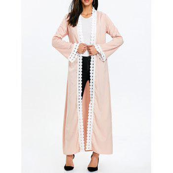 Maxi Arabic Duster Coat with Tie Belt - LIGHT APRICOT PINK LIGHT APRICOT PINK