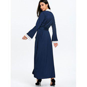Maxi Arabic Duster Coat with Tie Belt - PURPLISH BLUE XL
