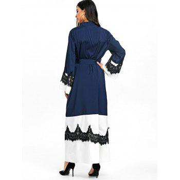 Bell Sleeve Duster Coat with Tie Belt - PURPLISH BLUE XL