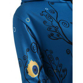 Plus Size Long Squirrel Forest Hoodie - LAKE BLUE 2XL
